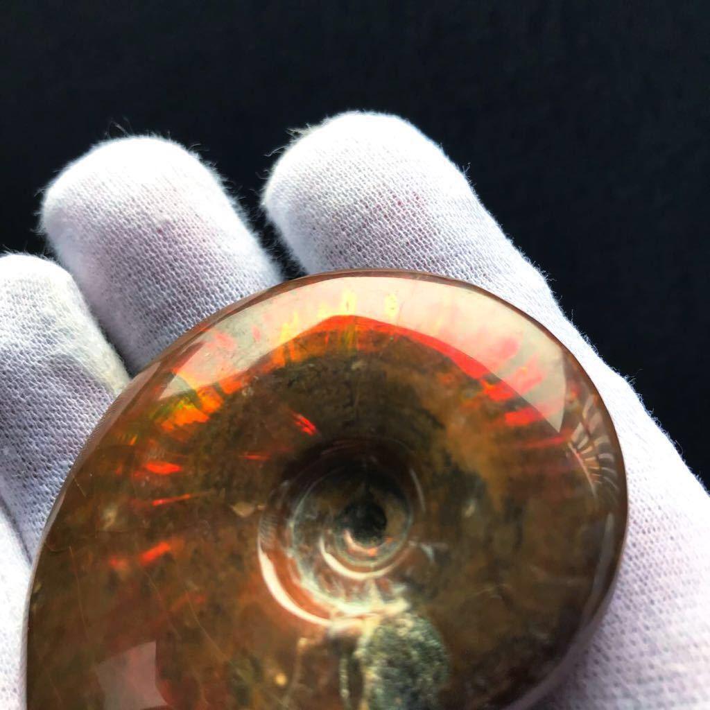 真っ赤で非常に綺麗なオパール化 やや大きめアンモナイト化石 85g 多彩な発色が特徴的な虹色の遊色 マダガスカル産 ピカピカ磨き_画像9