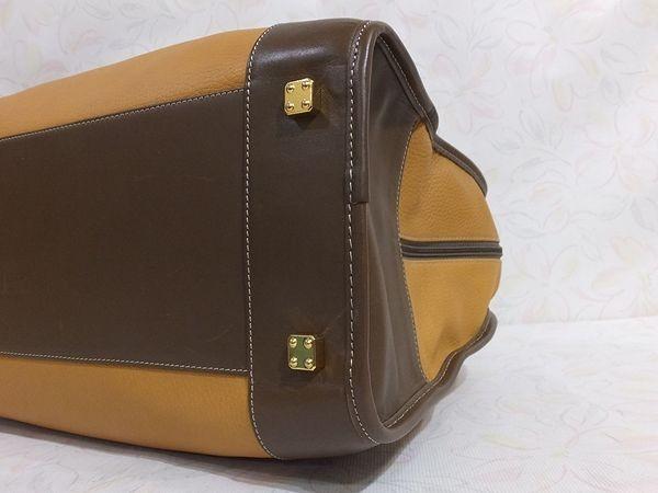 【美品/A】◆本物◆LOEWE ロエベ バッグ アマソナ40 トートバッグ ブリーフケース レザー ロゴ型押し キャメル・ブラウン_画像10