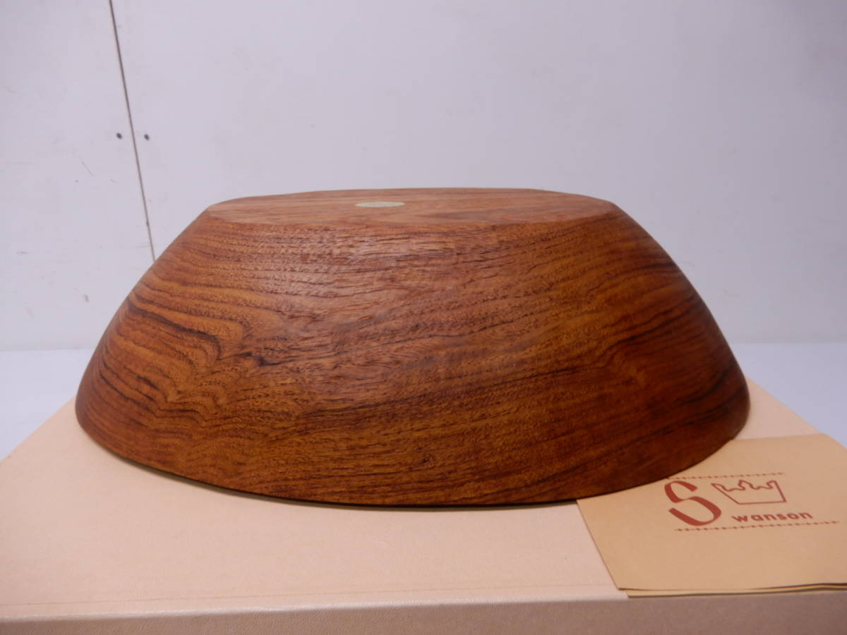 希少 未使用 80年代 ヴィンテージ 無垢 チーク材  チークボウル WAKO 銀座和光購入品_画像8