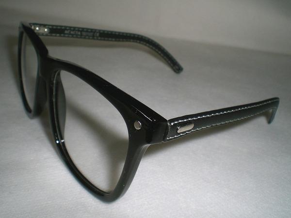 ウエリントン型だてめがね★★★レザー&セルフレームダテ眼鏡★★★ユニセックス小顔効果バツグン★★★ウェリントンタイプ黒縁伊達メガネ_デザイン違い商品も出品致しております。
