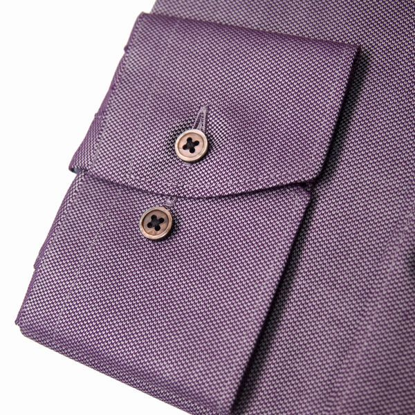 新品 春夏 DURBAN ダーバン 形態安定 スナップ釦付き 微光沢ジャガード ドレスシャツ 長袖シャツ 40-82 紫 メンズ ビジネス_画像3