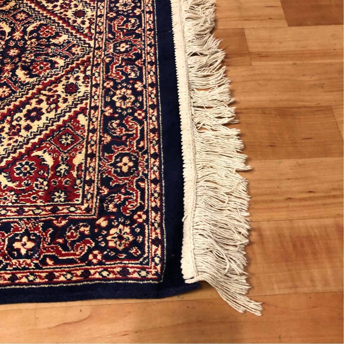 西洋 絨毯・カーペット/横120cm×縦68cm/欧州/ペルシャ絨毯?不明/マット/玄関/フローリング/リビング/テーブル/座卓/キッチン/床/ラグ_画像3