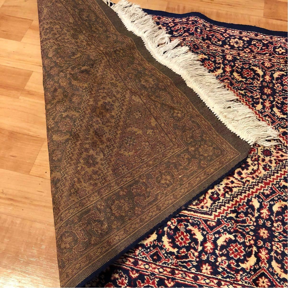 西洋 絨毯・カーペット/横120cm×縦68cm/欧州/ペルシャ絨毯?不明/マット/玄関/フローリング/リビング/テーブル/座卓/キッチン/床/ラグ_画像4