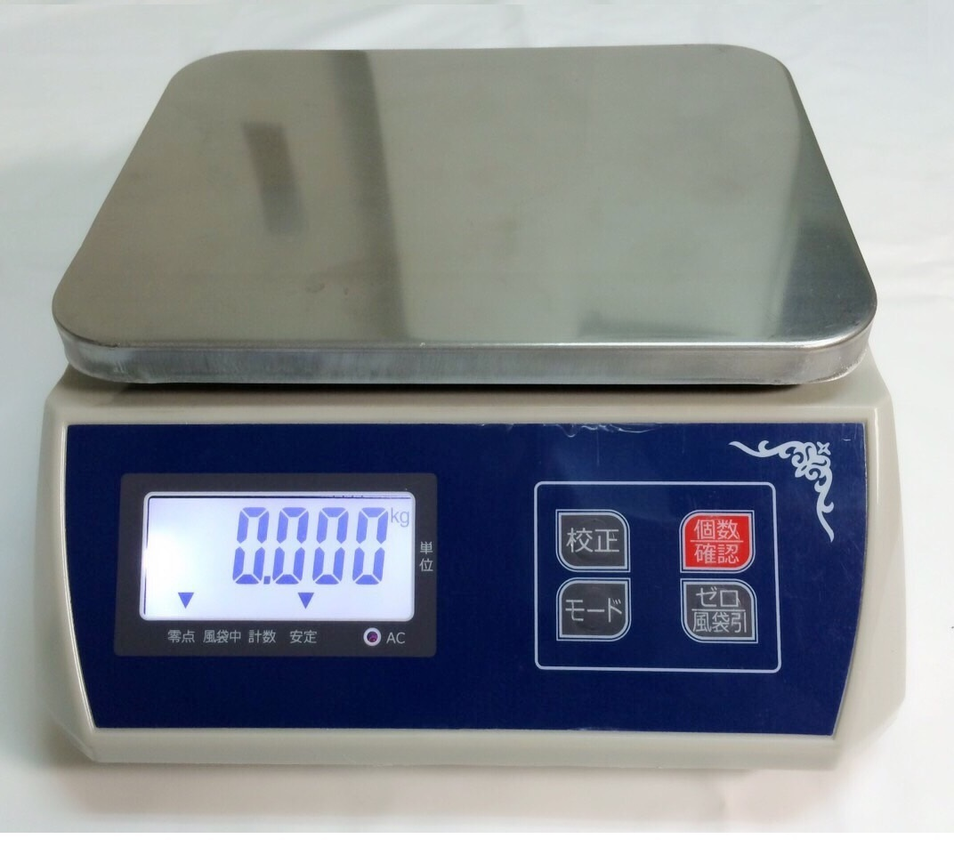防塵デジタル皿はかり30kg/1g バッテリー内蔵充電式 液晶大画面表示 ステンレス皿仕様 (皿はかり) 【はかりデジタル計り量り】上皿秤_画像1