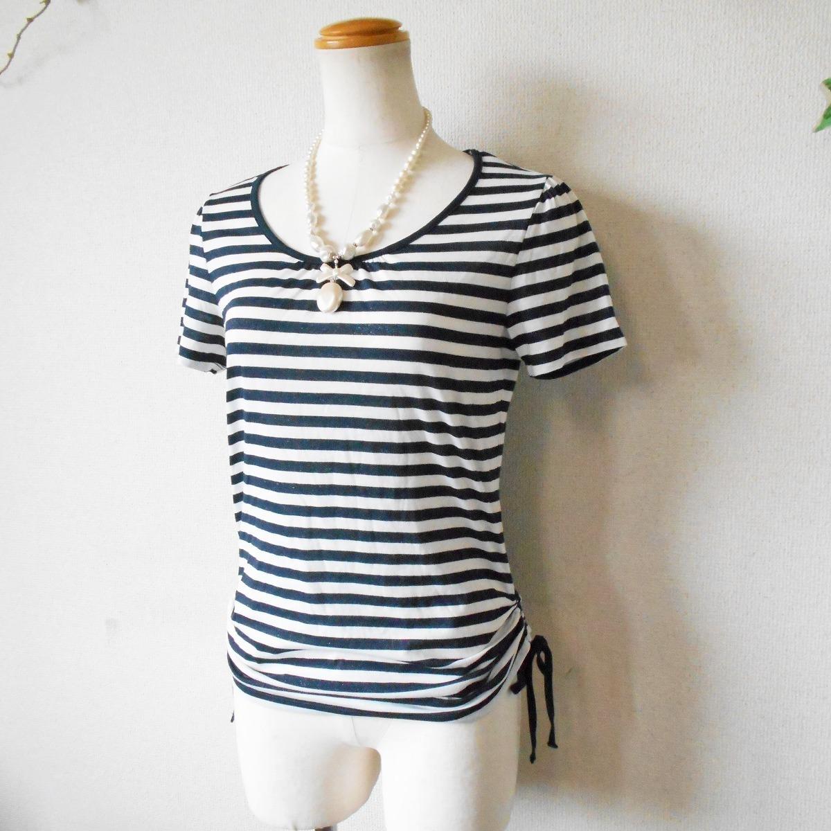 組曲 KUMIKYOKU オンワード 樫山 ラメ 入り ボーダー / 絞れる リボン 付き 半袖 カットソー Tシャツ 2_画像4