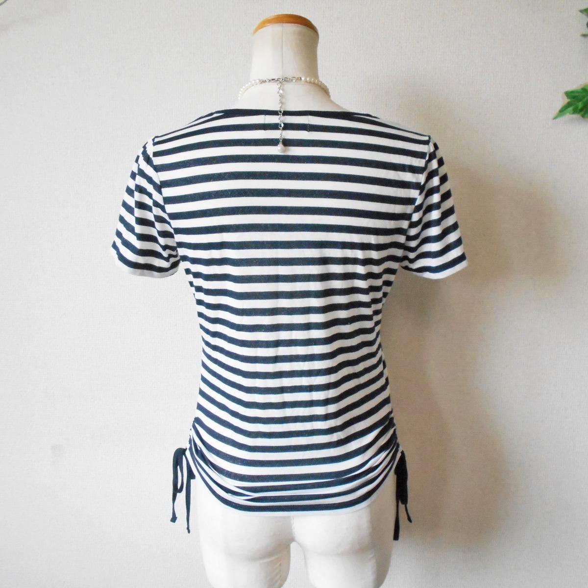 組曲 KUMIKYOKU オンワード 樫山 ラメ 入り ボーダー / 絞れる リボン 付き 半袖 カットソー Tシャツ 2_画像7