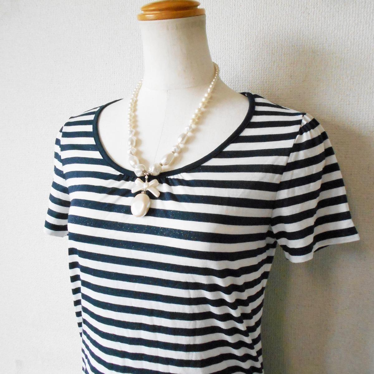 組曲 KUMIKYOKU オンワード 樫山 ラメ 入り ボーダー / 絞れる リボン 付き 半袖 カットソー Tシャツ 2_画像3