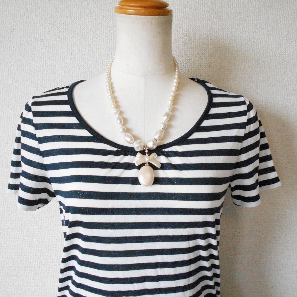 組曲 KUMIKYOKU オンワード 樫山 ラメ 入り ボーダー / 絞れる リボン 付き 半袖 カットソー Tシャツ 2_画像2