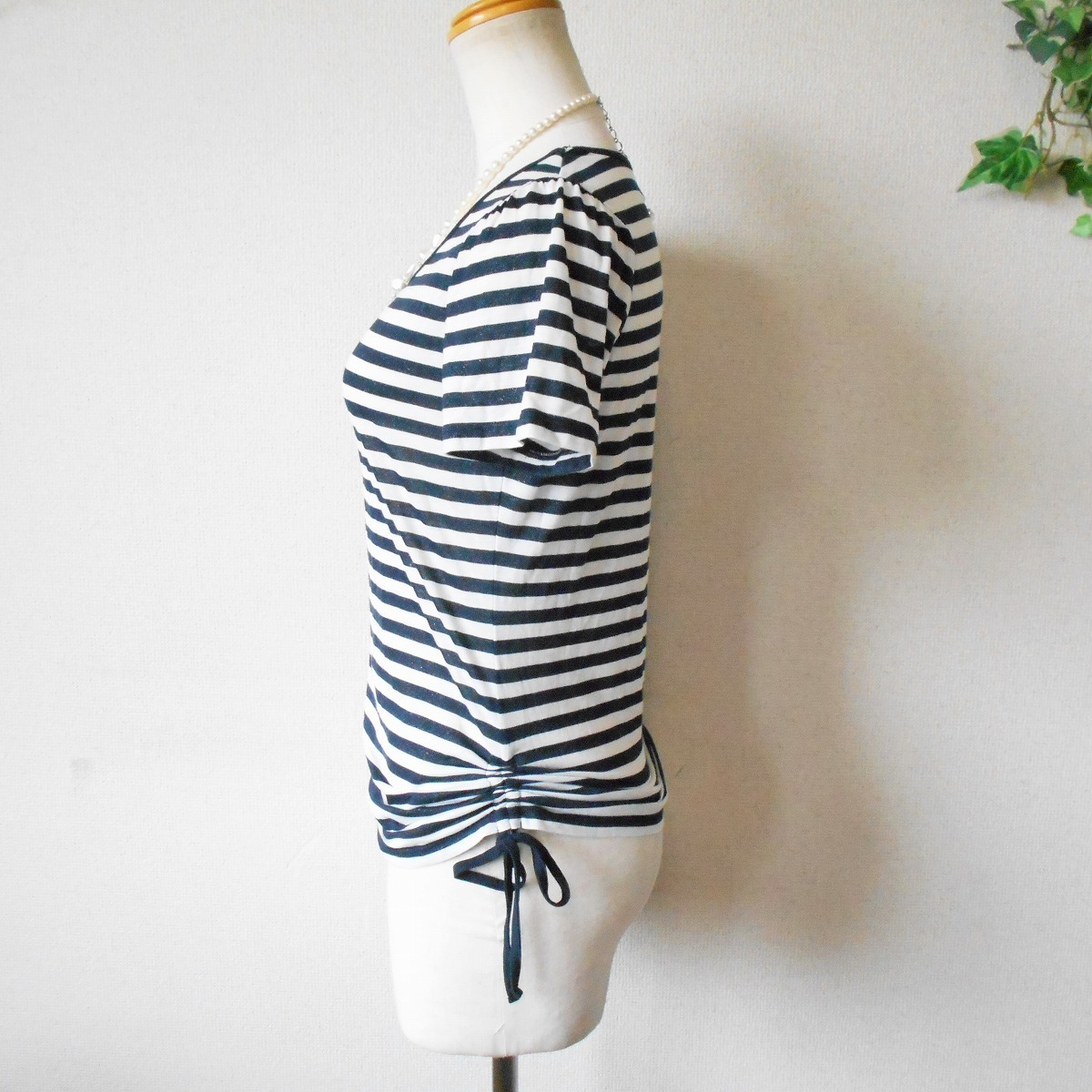 組曲 KUMIKYOKU オンワード 樫山 ラメ 入り ボーダー / 絞れる リボン 付き 半袖 カットソー Tシャツ 2_画像5
