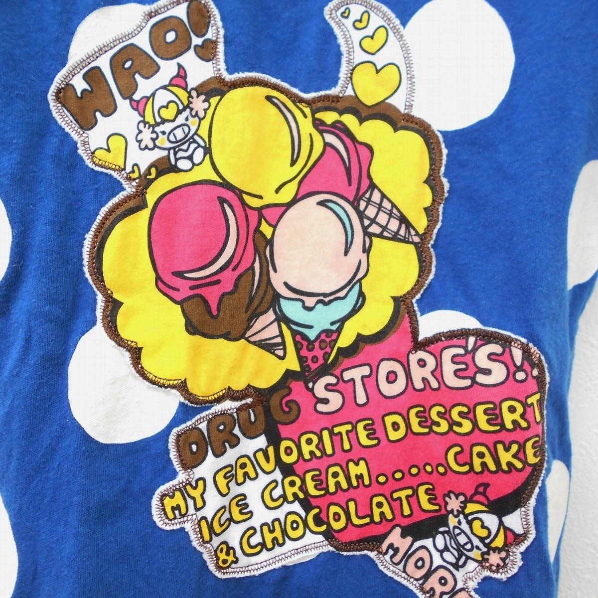 ドラッグストアーズ DRUG STORES キッズ 100cm 半袖 Tシャツ ブルー ドット プリント ワッペン トップス_画像3