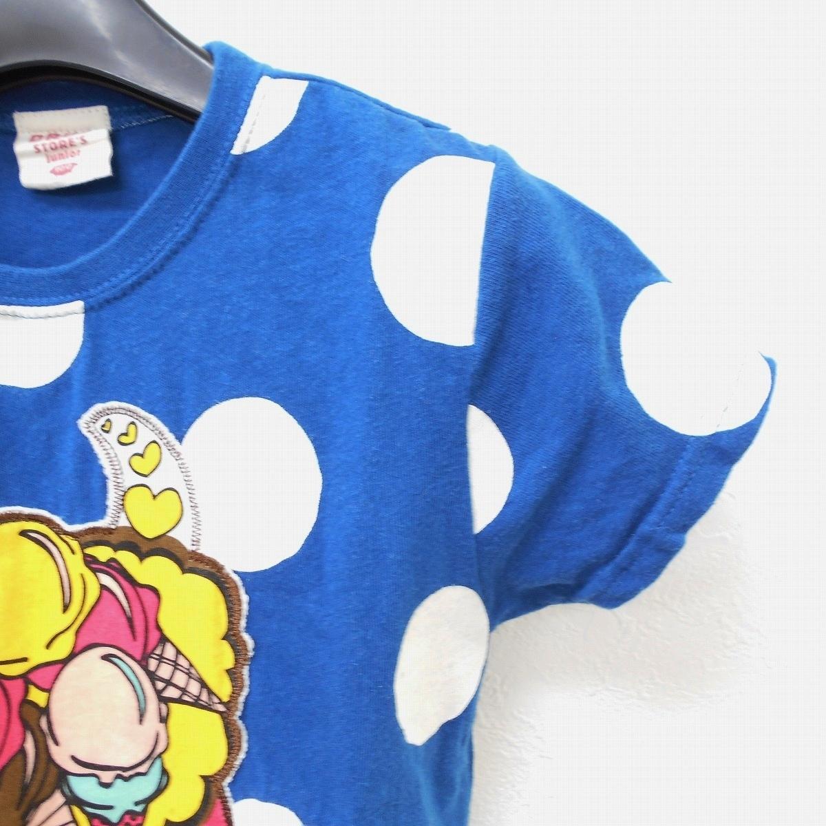 ドラッグストアーズ DRUG STORES キッズ 100cm 半袖 Tシャツ ブルー ドット プリント ワッペン トップス_画像4