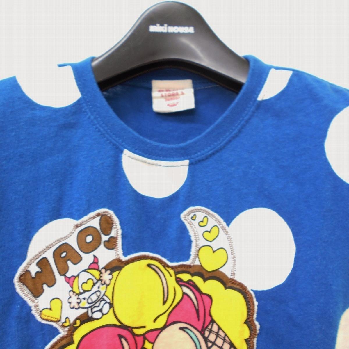 ドラッグストアーズ DRUG STORES キッズ 100cm 半袖 Tシャツ ブルー ドット プリント ワッペン トップス_画像2