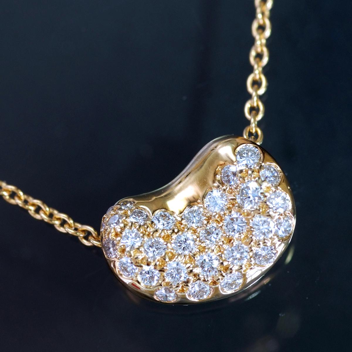 E8903【TIFFANY&Co.】ティファニー ビーン 天然絶品ダイヤモンド 最高級18金無垢ネックレス 長さ40.5cm 重量3.06g 幅7.7×10.7mm_画像1