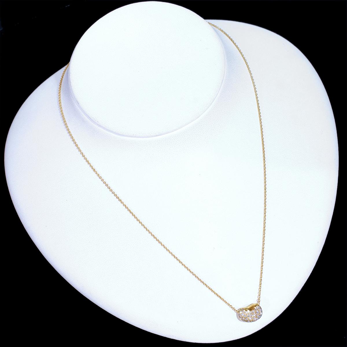 E8903【TIFFANY&Co.】ティファニー ビーン 天然絶品ダイヤモンド 最高級18金無垢ネックレス 長さ40.5cm 重量3.06g 幅7.7×10.7mm_画像3