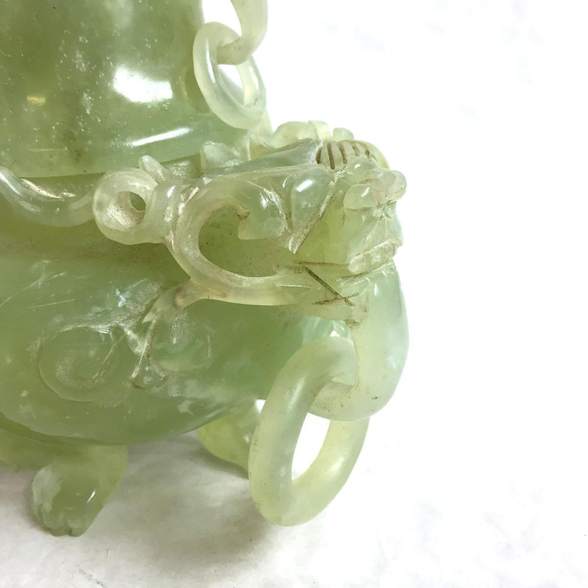 2241 瑪瑙 めのう 玉? 翡翠? 香炉 置物 オブジェ 中国美術 レトロ 高さ約18.5cm リサイクル アンティーク 紀の国屋_画像4