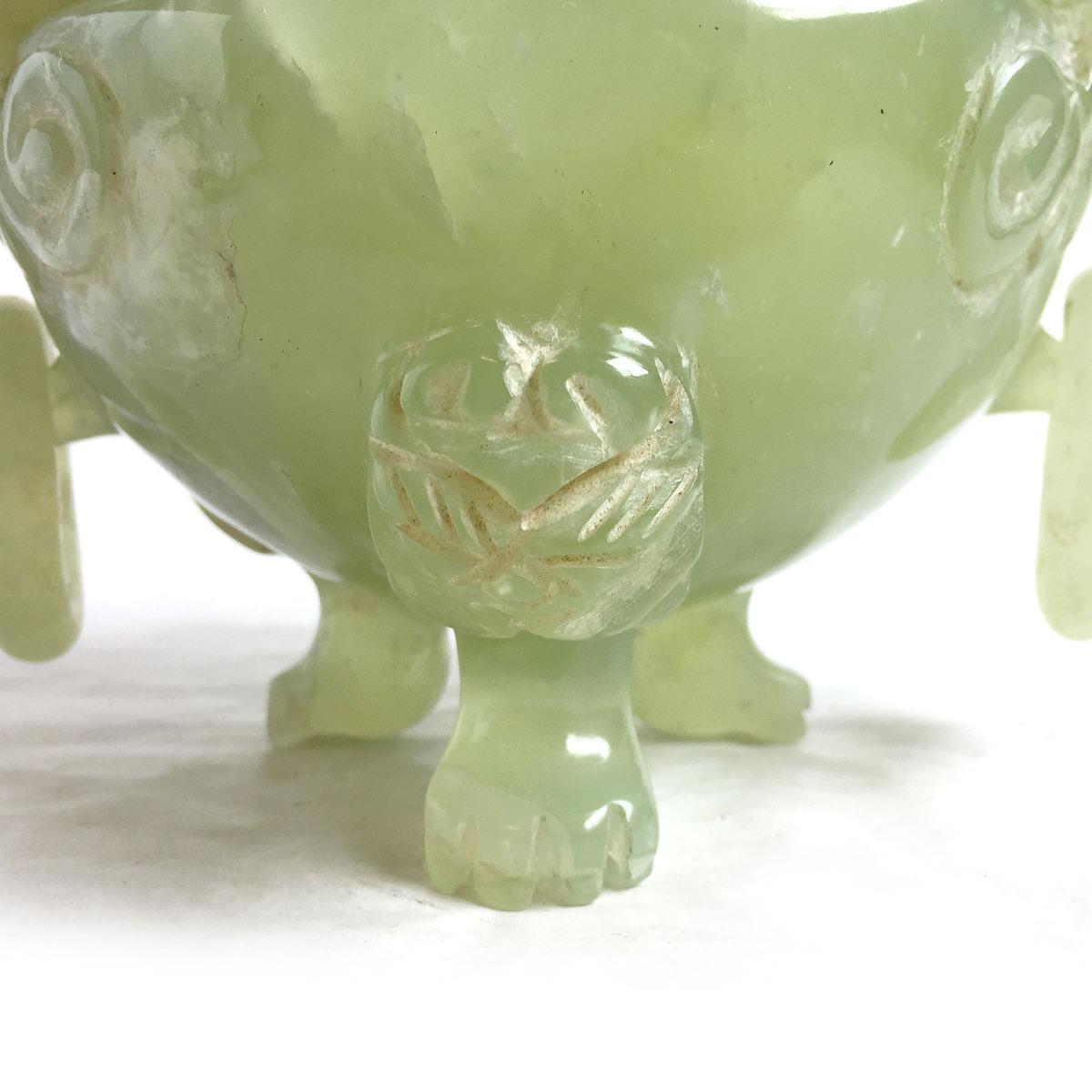 2241 瑪瑙 めのう 玉? 翡翠? 香炉 置物 オブジェ 中国美術 レトロ 高さ約18.5cm リサイクル アンティーク 紀の国屋_画像6