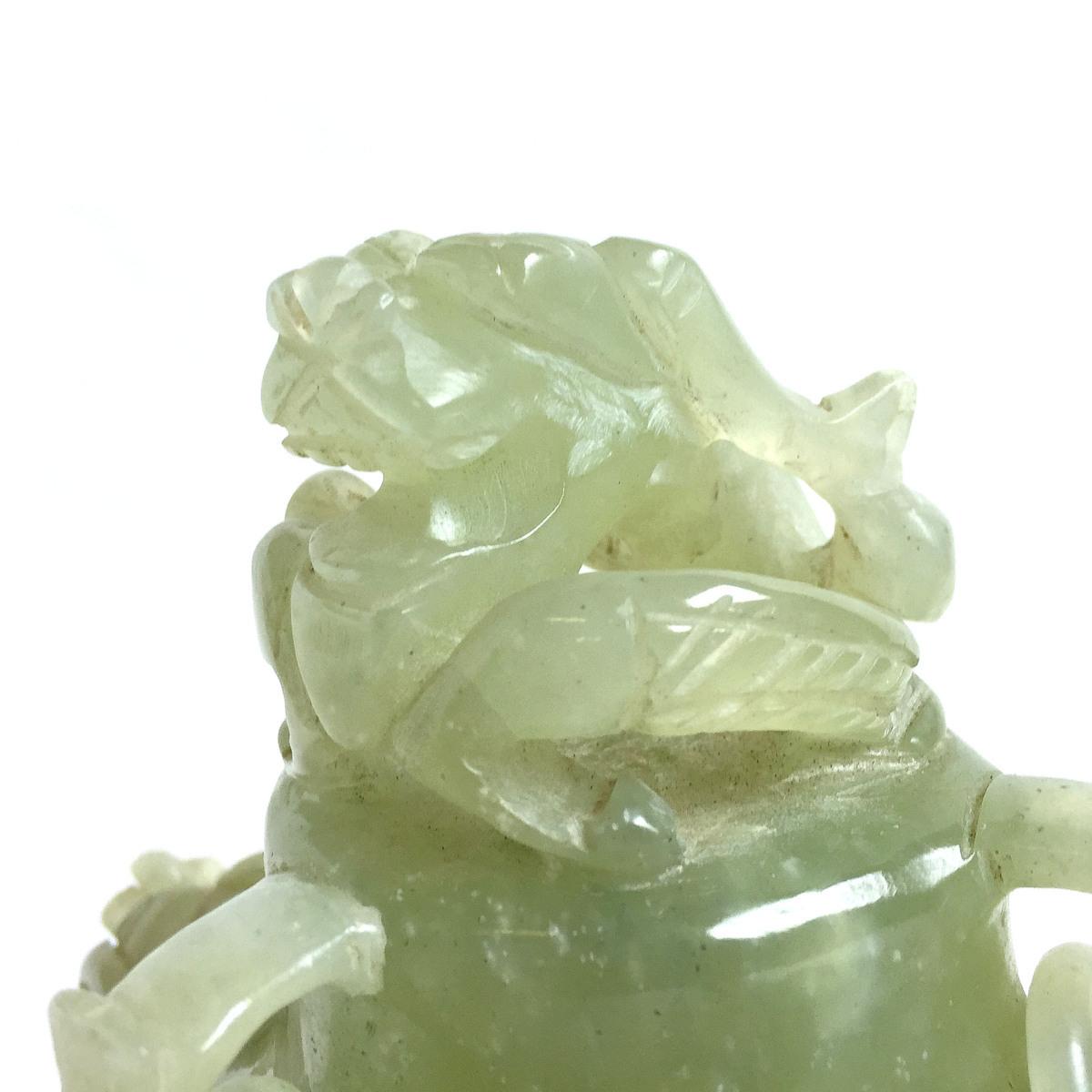 2241 瑪瑙 めのう 玉? 翡翠? 香炉 置物 オブジェ 中国美術 レトロ 高さ約18.5cm リサイクル アンティーク 紀の国屋_画像3