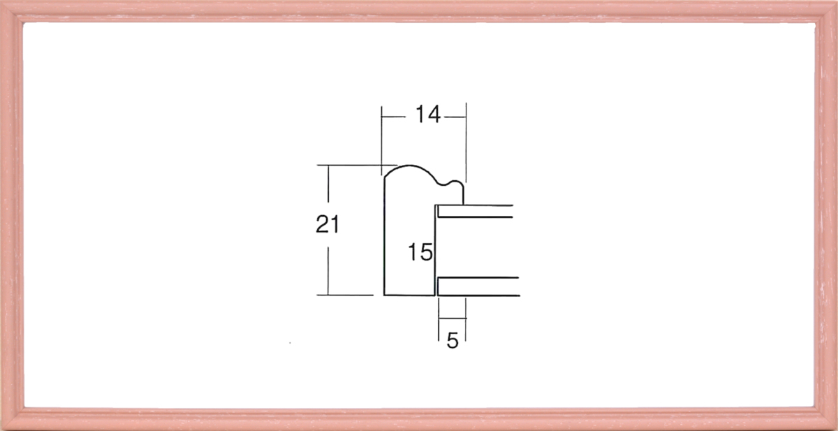 額縁 横長の額縁 木製フレーム 6701 ピンク サイズ600X300mm_画像1