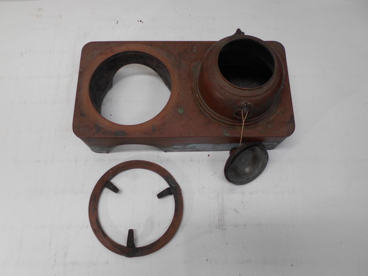 さなえ111 時代 銅製 どうこう 鉄瓶かけ 酒燗入れ 箱火鉢用 古道具 越前蔵うぶ出し _画像4
