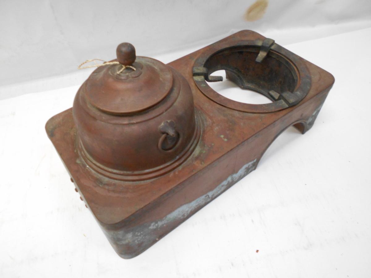 さなえ111 時代 銅製 どうこう 鉄瓶かけ 酒燗入れ 箱火鉢用 古道具 越前蔵うぶ出し _画像8