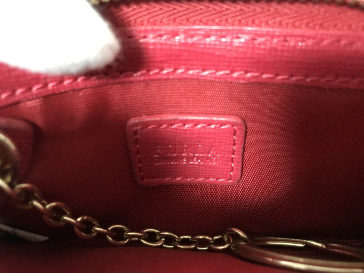 ■【YS-1】 財布 ■ フルラ FURLA ■ コインケース 小銭入れ ■ レッド系 赤系 ■ レザー 革 ■ キーリング付き 【東京発 手渡し可能】■D_画像5