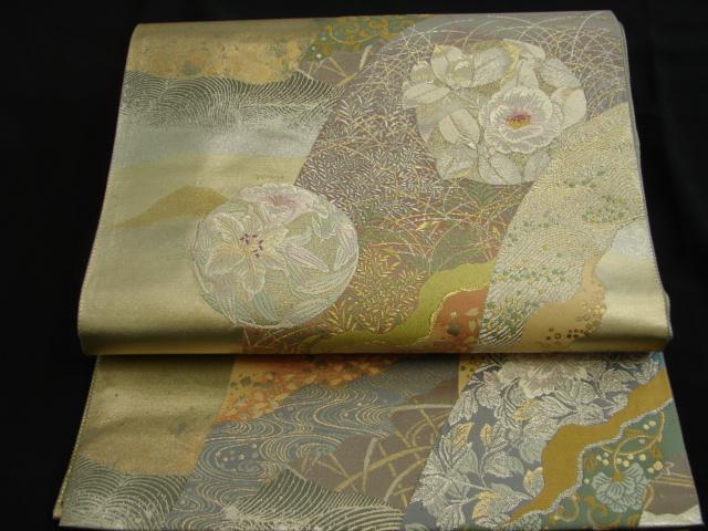 時代屋 美品 訪問着 用 袋帯 西陣織 箔織 六通柄 花柄 Fs05_画像1