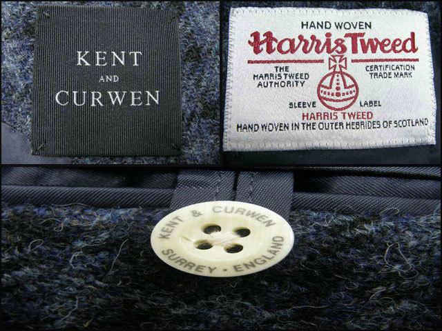 新品 KENT & CURWEN × Harris Tweed ケント&カーウェン ハリスツイード 定価6万8,040円【日本製 貝ボタン】 ジャケット LL 秋冬 ★290241_画像4