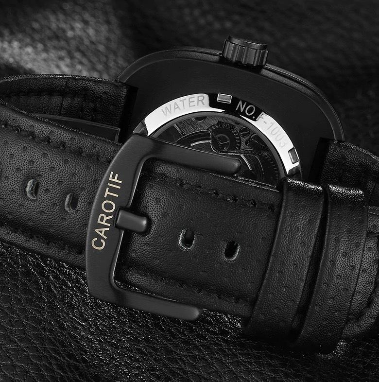 【送料無料☆WEB領収書発行】高級ブランド 機械式 メンズ 腕時計 スクエア 高級レザー ビジネス カジュアル_画像6