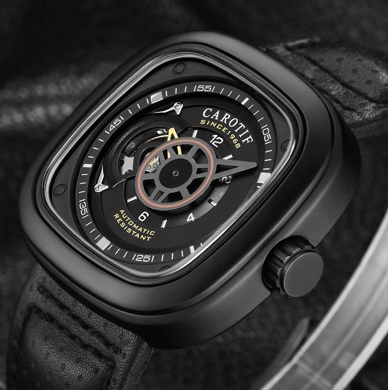 【送料無料☆WEB領収書発行】高級ブランド 機械式 メンズ 腕時計 スクエア 高級レザー ビジネス カジュアル_画像2
