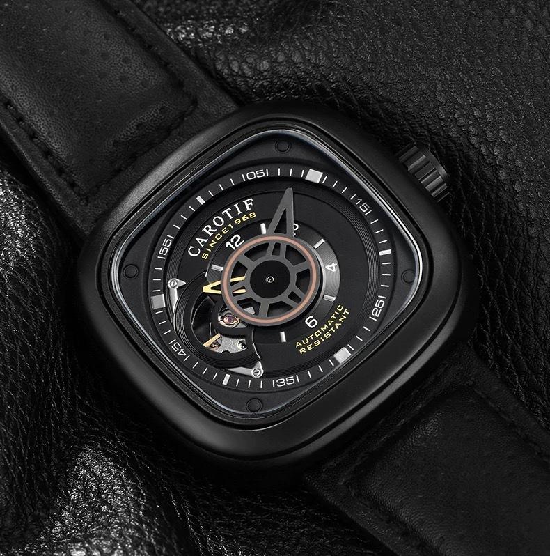 【送料無料☆WEB領収書発行】高級ブランド 機械式 メンズ 腕時計 スクエア 高級レザー ビジネス カジュアル_画像3