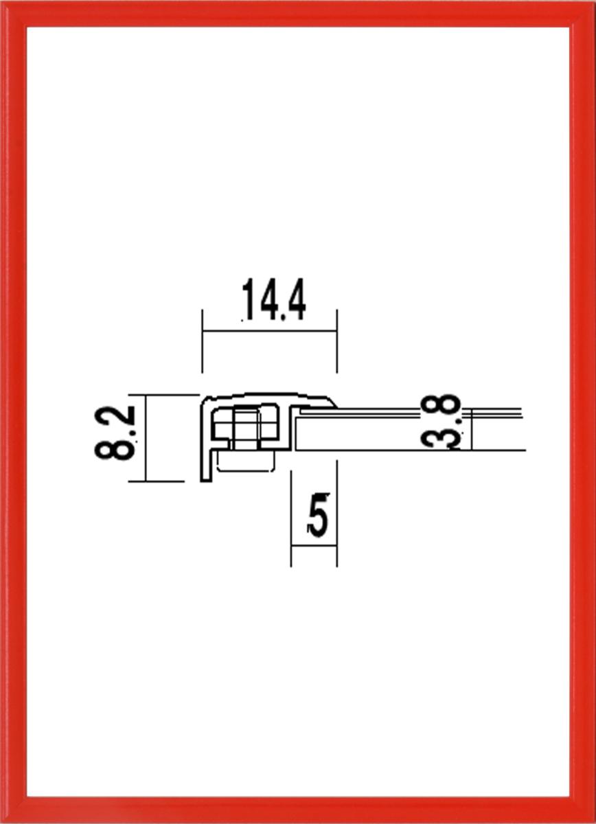額縁 OA額縁 ポスター額縁 アルミフレーム 5015 レッド かるフレーム B3サイズ 515X364mm_画像1