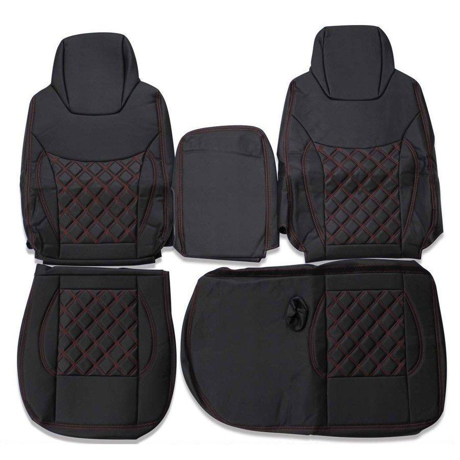 いすゞ エルフ 6型 ワイドキャブ シートカバー 運転席 助手席 ダイヤモンドステッチ レッド ZERO_画像1