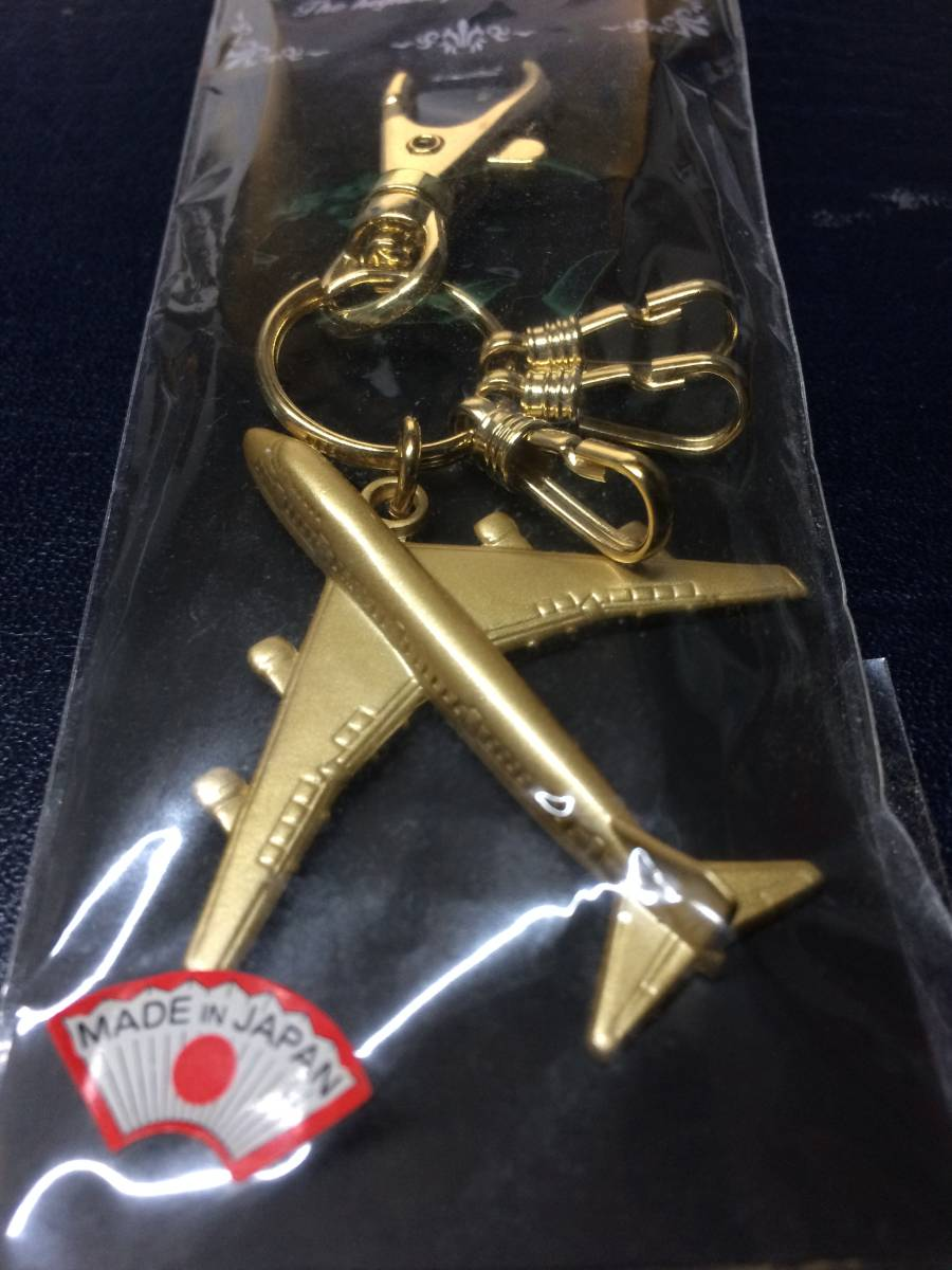 詳細不明 ボーイング747型機(ジャンボジェット) ゴールドカラー 日本製キーホルダー 未使用品!_画像2