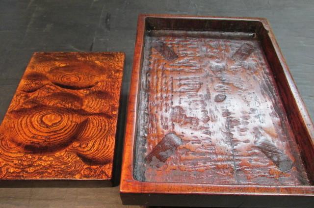 玉杢欅拭き漆表裏両入れ換え飾り台_画像8