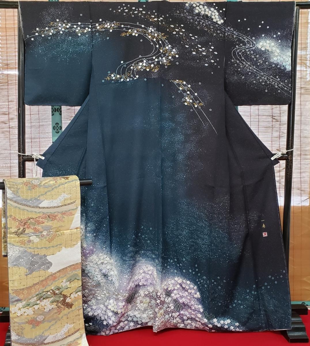 訪問着 正絹 辻ヶ花 作家物 吉野一廉 西陣 袋帯付き 躾付き未使用品_画像9