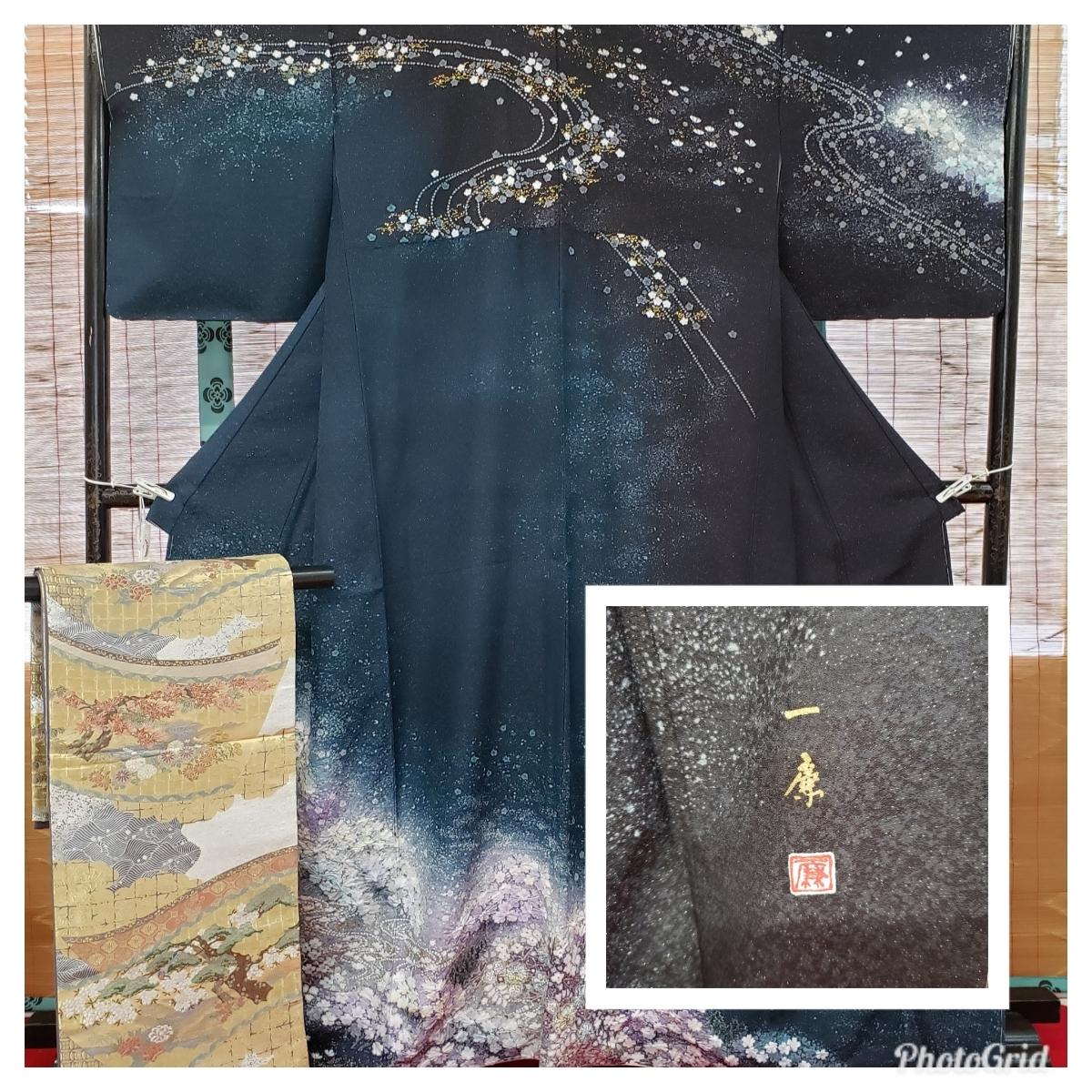 訪問着 正絹 辻ヶ花 作家物 吉野一廉 西陣 袋帯付き 躾付き未使用品_画像1