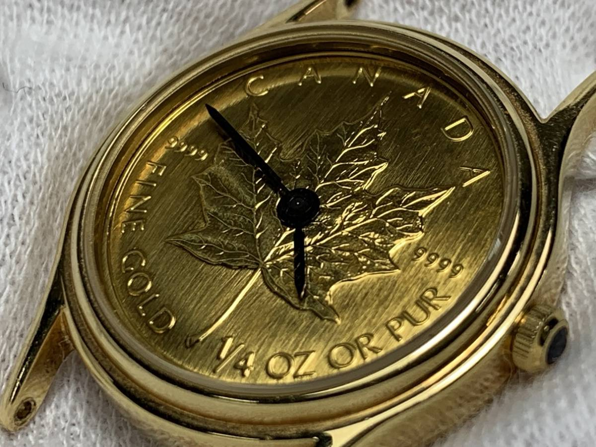 K18ケース カナダ メイプルリーフコイン 時計 1/4 オンス MDY-3L motive deco 腕時計 ○1_画像2