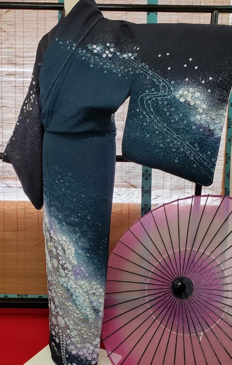 訪問着 正絹 辻ヶ花 作家物 吉野一廉 西陣 袋帯付き 躾付き未使用品_画像3