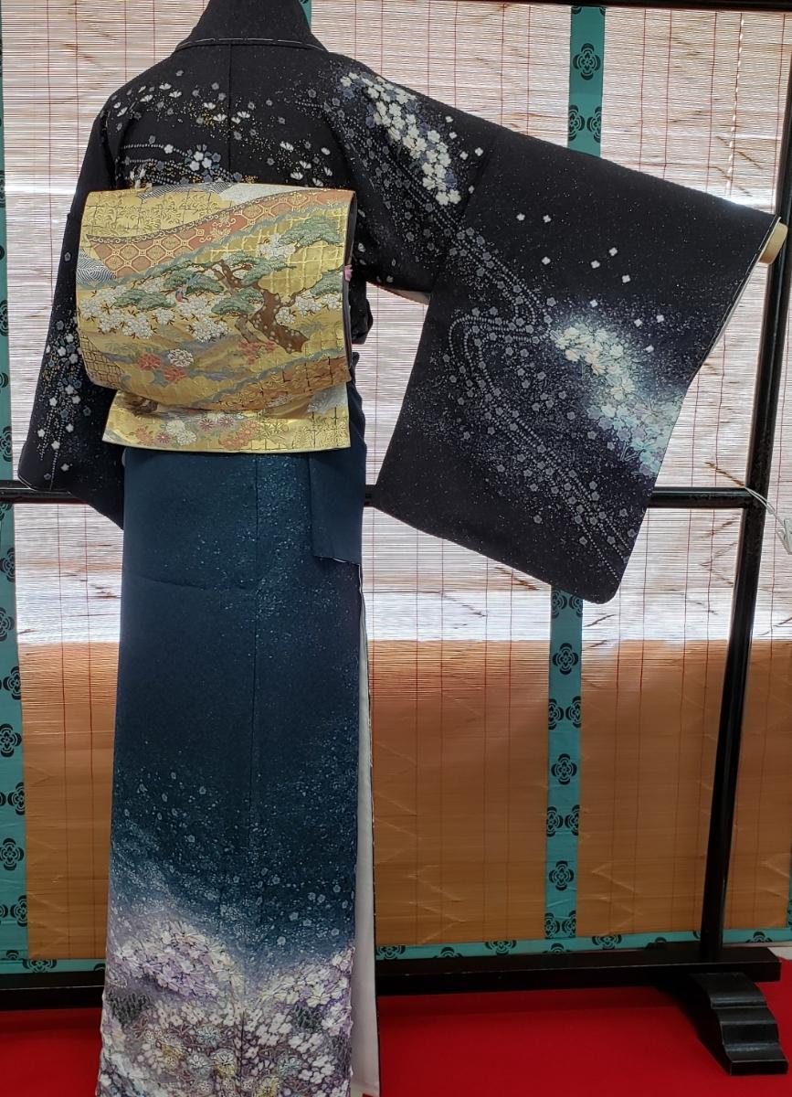 訪問着 正絹 辻ヶ花 作家物 吉野一廉 西陣 袋帯付き 躾付き未使用品_画像4