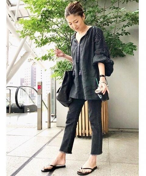 新品タグ付き☆2018SS ドゥーズィエムクラス 刺繍ブラウス 黒_画像2