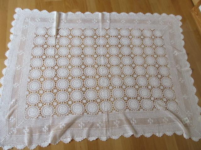 綿100% 白 手編みレース 120×150cm マルチカバー テーブルクロス 未使用