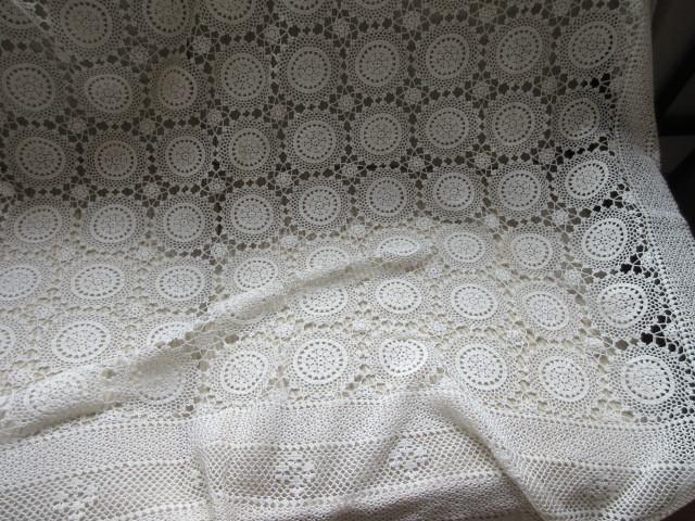 綿100% 白 手編みレース 120×150cm マルチカバー テーブルクロス 未使用_画像2