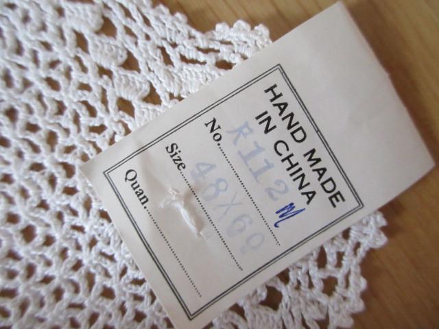 綿100% 白 手編みレース 120×150cm マルチカバー テーブルクロス 未使用_画像3