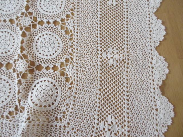 綿100% 白 手編みレース 120×150cm マルチカバー テーブルクロス 未使用_画像5
