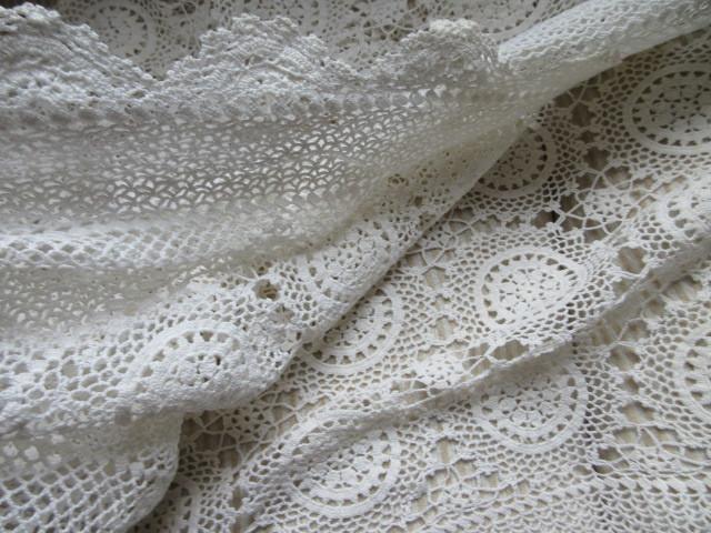 綿100% 白 手編みレース 120×150cm マルチカバー テーブルクロス 未使用_画像6