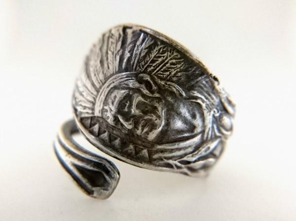 ネイティブアメリカン シルバー製 スーベニア スプーン リング アロー インディアン ジュエリー アジャスタブル 指輪_画像1
