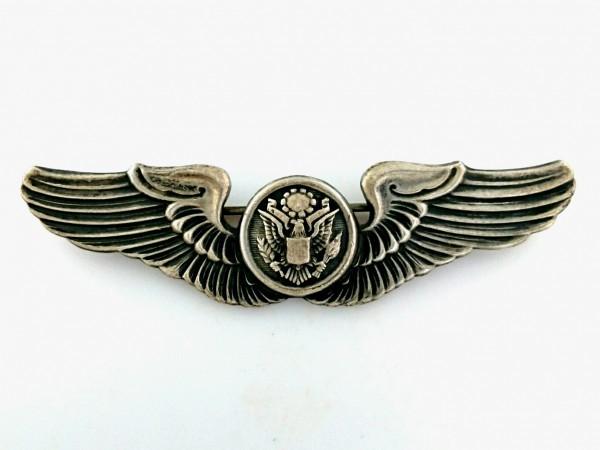 WW2 US ARMY AIR FORCES シルバー製 エアクルー ウイング フルサイズ章 USAAF ビンテージ ピン エアフォース バッジ 米軍 徽章 ミリタリー_画像2
