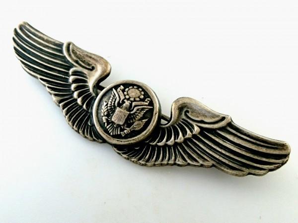 WW2 US ARMY AIR FORCES シルバー製 エアクルー ウイング フルサイズ章 USAAF ビンテージ ピン エアフォース バッジ 米軍 徽章 ミリタリー_画像7