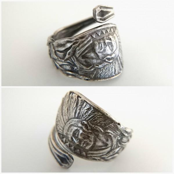ネイティブアメリカン シルバー製 スーベニア スプーン リング アロー インディアン ジュエリー アジャスタブル 指輪_画像4