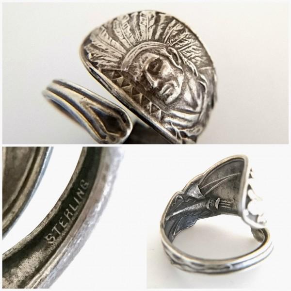 ネイティブアメリカン シルバー製 スーベニア スプーン リング アロー インディアン ジュエリー アジャスタブル 指輪_画像3